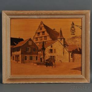 Paul Spindler French 19071980 Marquetry Panel Depicting the Village of Blaesheim