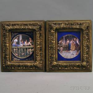 Pair of Framed Painted Tile Pictures