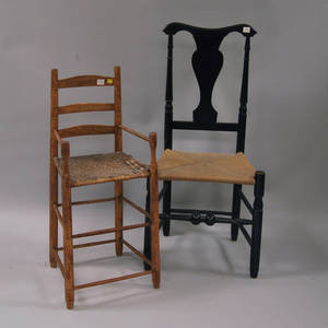 Maple and Ash Ladderback High Chair and a Blackpainted Country Side Chair