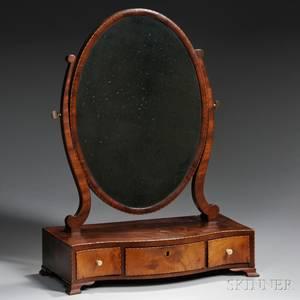 Federal Inlaid Mahogany Veneer Dressing Mirror