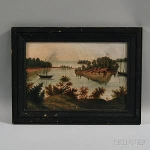 American School 19th Century Primitive River Landscape