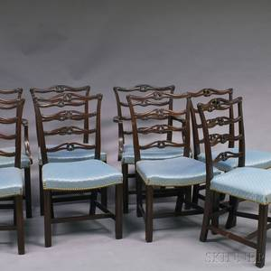 Set of Eight Chippendalestyle Ribbonback Dining Chairs