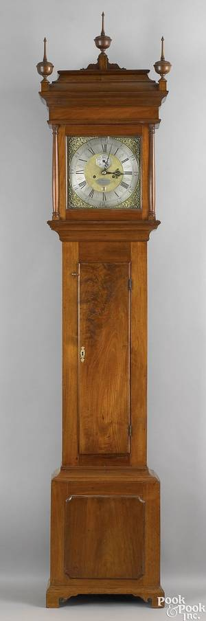 New Jersey Queen Anne walnut tall case clock