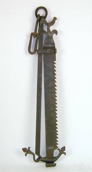 French wrought iron sawtooth trammel mid 18th c