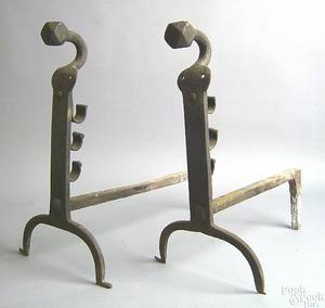 Pair of English cast iron andirons 17th c