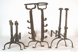 Pair of wrought iron spit dogs mid 18th c
