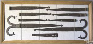 Framed group of wrought iron hardware ca 1800