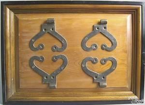 Framed set of 4 wrought iron heart shaped interior hinges early 19th c