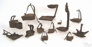American and Continental wrought iron lighting devices 18th19th c