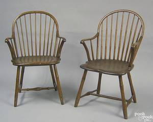 Two Philadelphia bowback windsor armchairs ca 1800