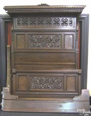 Victorian walnut and burlwood veneer half tester bed