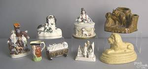Eight pcs of porcelain and earthenware to include figural groups