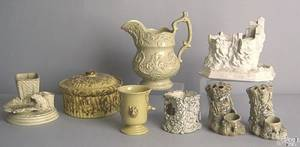 Eight pcs of English porcelain to include agateware