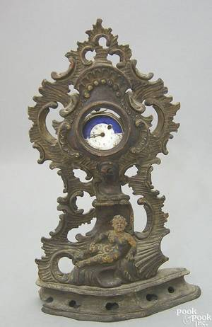 German baroque carved polychromed watch safe early 18th c