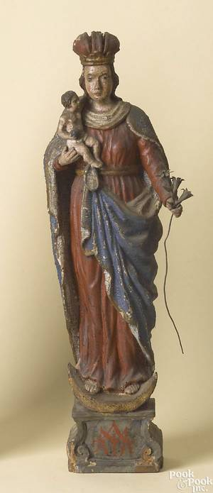 German or Northern Italian carved polychrome figure of Madonna and child late 17th c