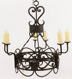 Round Iron 6 Light Milan Chandelier