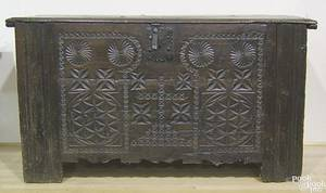 Spanish Baroque carved walnut blanket chest mid 17th c