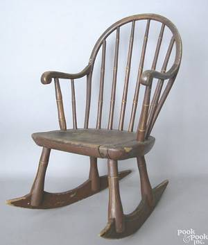 Pennsylvania childs bowback windsor rocking chair ca 1820