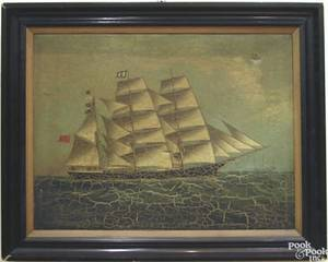 China Trade oil on canvas ship portrait 19th c