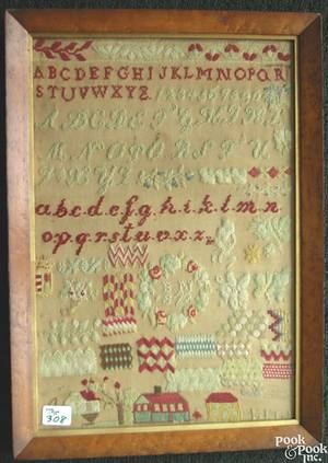 English wool on linen needlework sampler initialed BN 1872