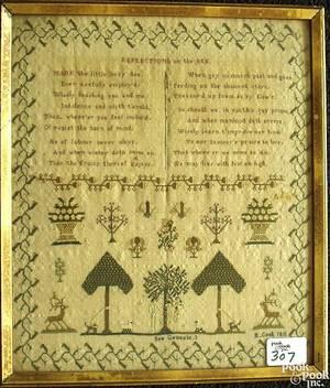 English silk on linen sampler wrought by E Cook 1811