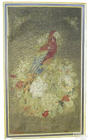 Wool needlework of a parrot