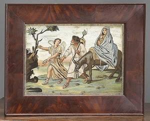 Pair of English needlework pictures ca 1800