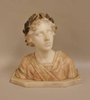 E 20th C Carved Alabaster Bust of a Woman
