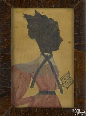 New England watercolor and ink hollowcut profile ca 1830