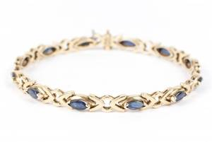 Ladies 14k Yellow Gold  Sapphire Link Bracelet