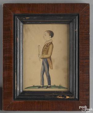 American watercolor on paper portrait late 19th c