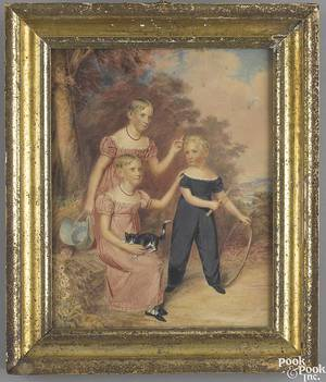 English watercolor on paper fulllength portrait of children 19th c