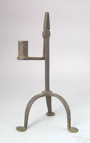 Wrought iron rush light ca 1800
