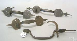 Four New England  wrought iron thumb latches 18th19th c