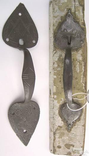 Unusual wrought iron thumb latch