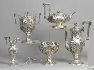 Baltimore sixpiece silver tea service ca 1848