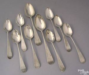 Two Philadelphia silver serving spoons ca 1790
