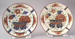 Two Gaudy Dutch toddy plates