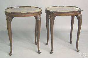 Three stands to include a pair of George II style mahogany stands with theorem tops