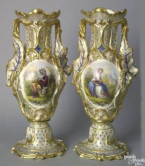 Pair of Paris porcelain vases with landscape