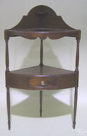 New England mahogany corner washstand ca 1810