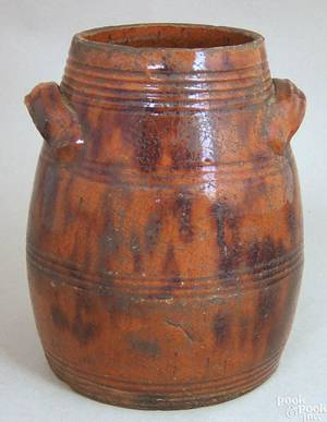 New England redware jar 19th c