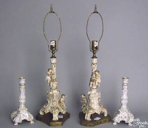Pair of Dresden porcelain candlesticks