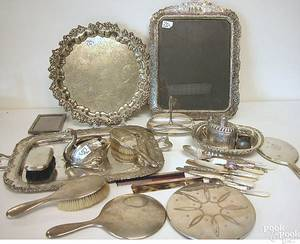 Group of silver and silver plate to include platters