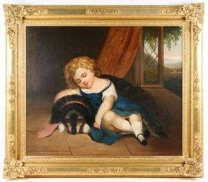 19th C American School Oil Girl With Her Dog
