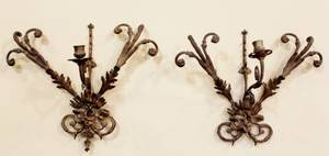 Pair of Bronze Single Candle Sconces