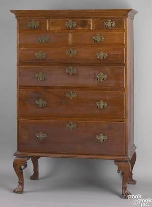 Chester County Pennsylvania Queen Anne walnut Octorara tall chest ca 1740