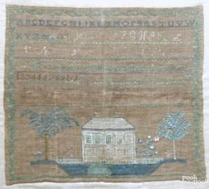 American silk on linen needlework sampler early 19th c