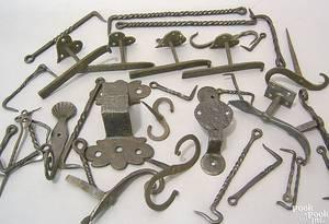 Miscellaneous Pennsylvania wrought iron hardware 18th19th c
