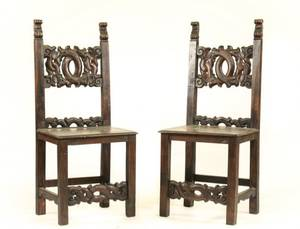 Pair of Stained  Carved Oak Hall Chairs 19th C